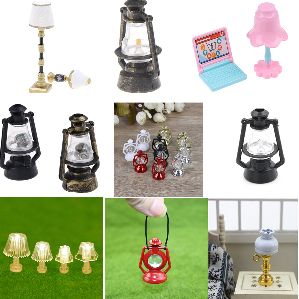 1:12 Dollhouse Children Baby Gift 1:25 Mini Lighting Table Lamp Mini Furniture Miniature Rement Black Kerosene Lamp Decoration