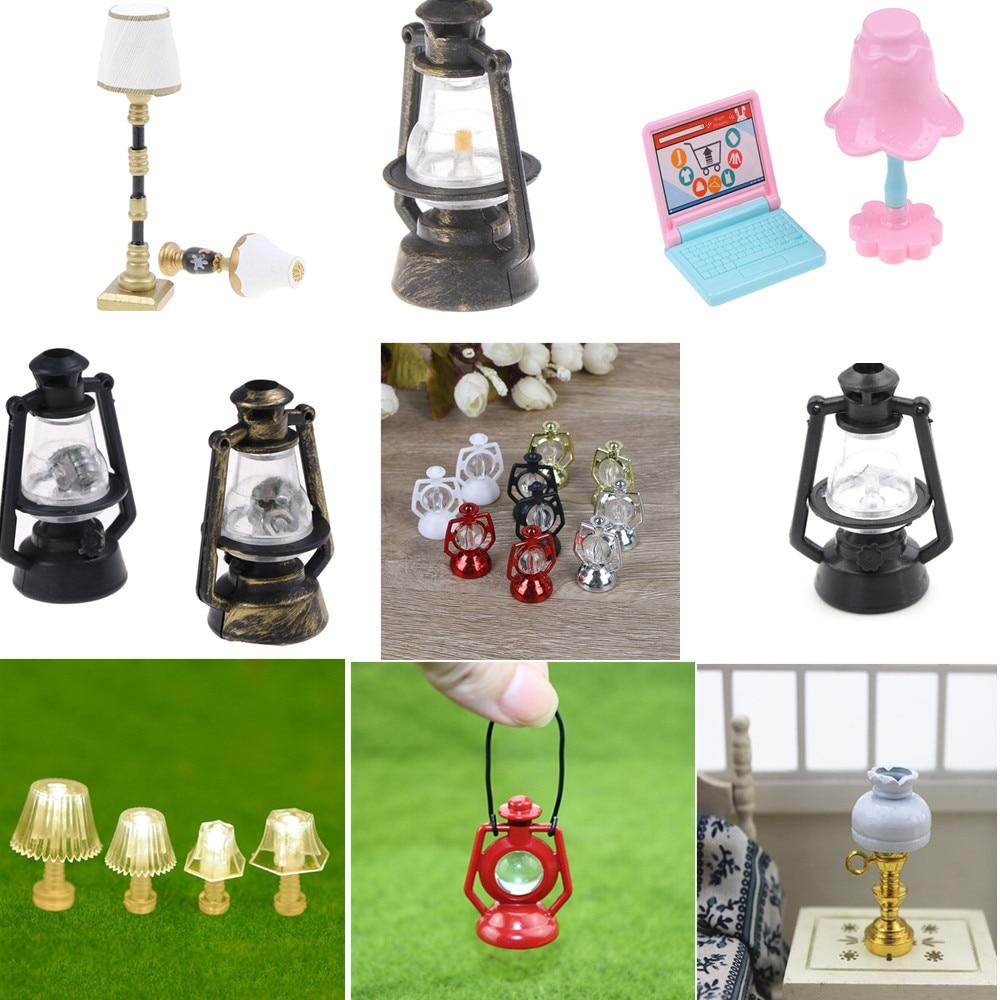1:12 Dollhouse Children Baby Gift 1:25 Mini Lighting Table Lamp Mini Furniture Miniature Rement Black Kerosene Lamp Decoration