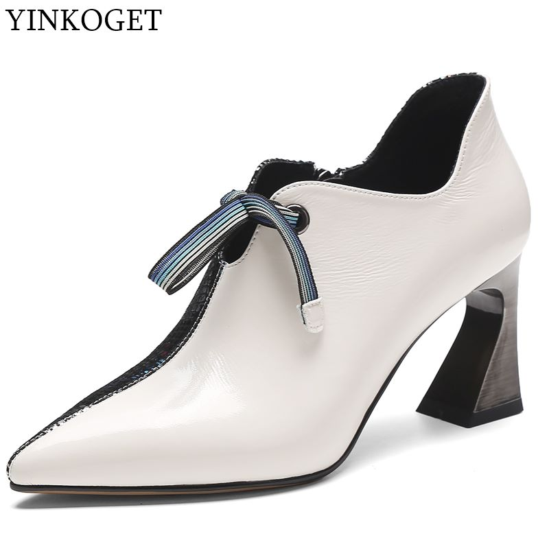 Image 2 - ALLBITEFO fashion colored genuine leather charming high heels  leisure high heel shoes new spring office ladies shoes women  heelsWomens Pumps