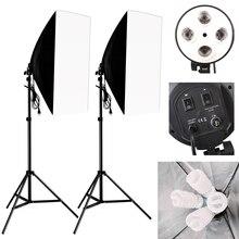 Kit de cuatro lámparas Softbox de iluminación fotográfica, enchufe de soporte E27 con 8 Uds. De bombilla, accesorios para cajas de estudio fotográfico y vídeo, 50x70CM