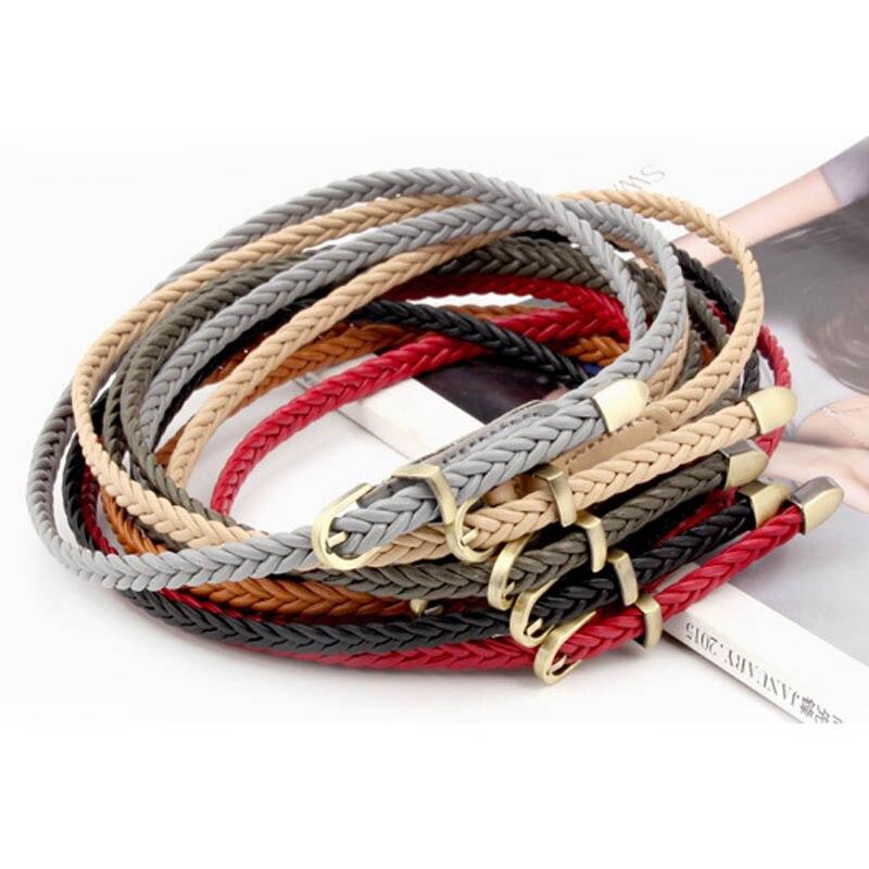 Women Fashion Belts Hand-Woven Versatile Thin Belt PU Leather 1Pcs Pin Buckle Dress Jeans Decoration Solid Color