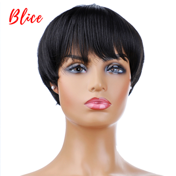 Blice For Women Short Synthetic Wig With Free Side Bang  Natural Black 1B# Bob Wig Heat Resistant Cosplay Party Yaki Straigt Wig цена 2017