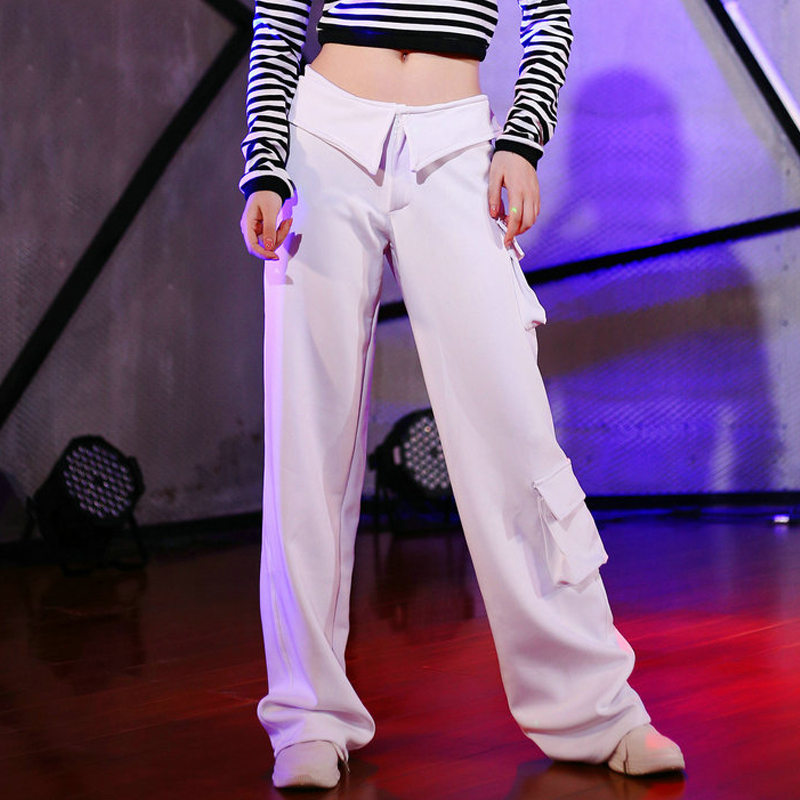 Jazz Dancing Costume Female Team Performance Clothing Loose Casual Sports Pant Straight Trousers Ropa Hip Hop Clothes Women 3530