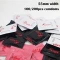 Preservativo a granel de 100/200 pces mais tamanho 55mm largura premium liso preservativos de látex natural xl de borracha fina