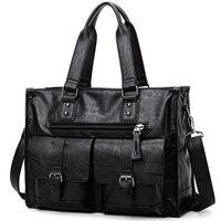 حقيبة يد رجالية غير رسمية ، حقيبة كتف رجالية ، ريترو ، أعمال ، سعة كبيرة ، أسود ، مجموعة جديدة 2021