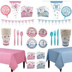 Género Reveal, vajilla desechable de fiesta rosa y azul, servilleta de vaso para niña y niño, artículos de decoración para pancarta colgante de Baby Shower