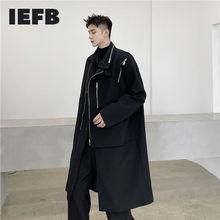Trench-Coat IEFB Black Windbreaker Spring Long-Clothes Men's New-Fashion Zipper Y4725