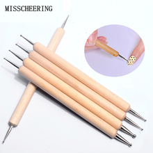 5 pcs/set 2 Way Wooden Nail Art Dotting Pen Arrange Design Tools Painting Drawing Brushes Manicure Books On Accessory