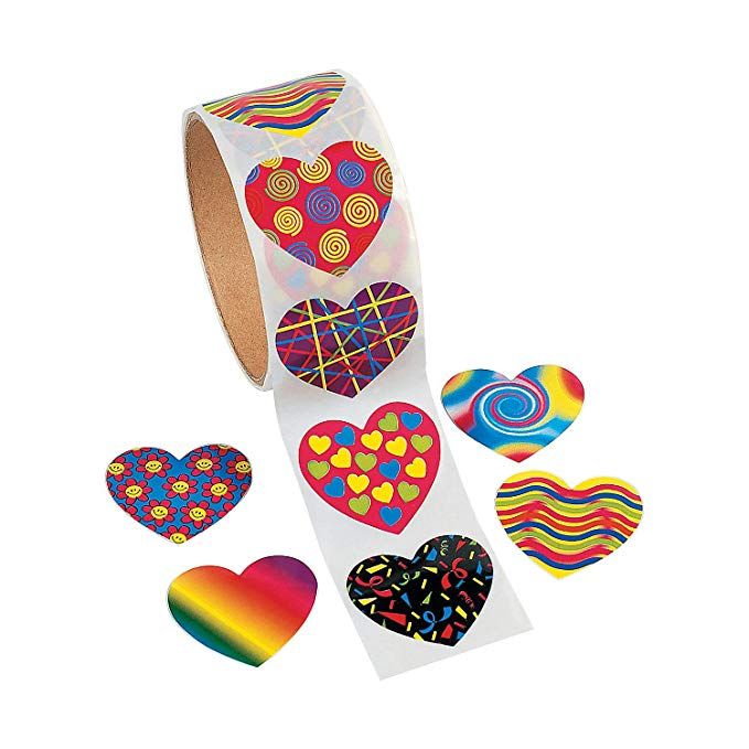 100pcs/roll 8 Kinds Of Creative Heart Shape Kawaii Cute Reward Stickers Scrapbooking For Journal Stationery Sticker For Kids