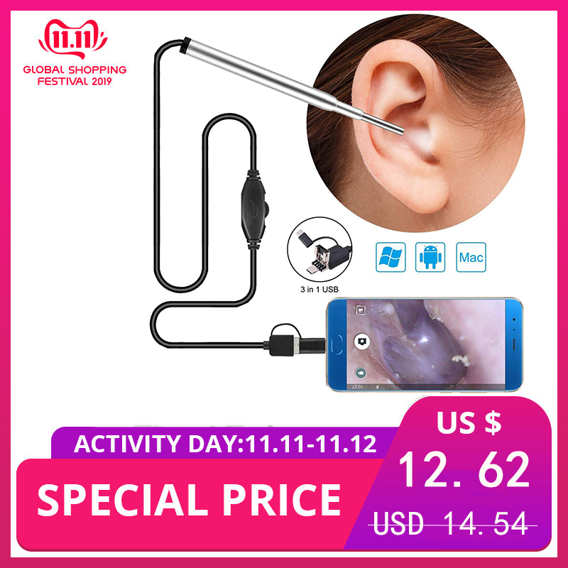 3 In 1 Ear Spoon Cleaning Tool Android Type C USB 3.9mm Medical Otoscope Inspection Camera Borescop Ear Nasal Earpick Endoscope