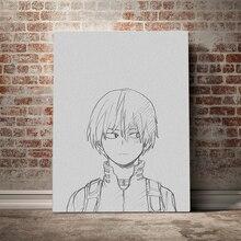 Arte da parede lona hd cópias anime poster decoração para casa shoto todoroki esboço pintura para o quarto modular fotos sem quadro