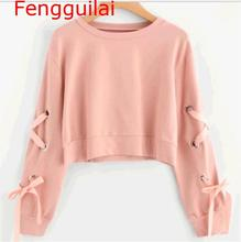 цена на Eyelet Lace Up Sleeve Crop Sweatshirt Autumn Round Neck Cute Pullovers  Women Long Sleeve Casual Sweatshirt