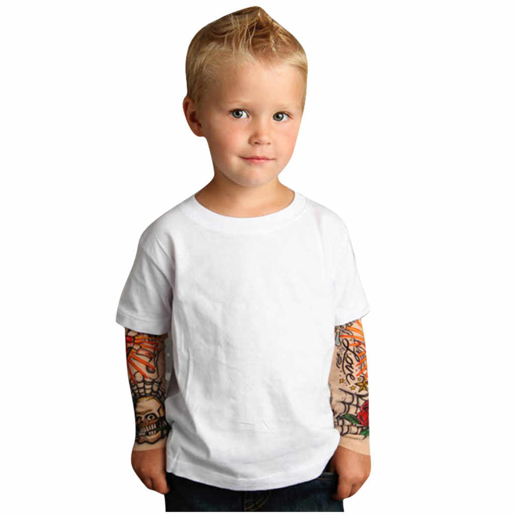 Camiseta de los niños con el tatuaje de malla de manga impresa camiseta Floral camiseta niños Hip Hop Rock camiseta niño bebé superior Drop ship #6