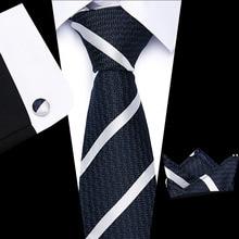 Men tie 8cm 100% silk Blue and Brown stripe lattic necktie Woven Hight Quality