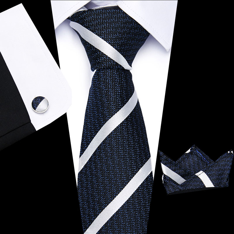 Men  Tie 8cm 100% Silk Blue And Brown Stripe  Lattic Necktie Woven Hight Quality Tie + Handkerchief + Cuffink Set Wedding L10003