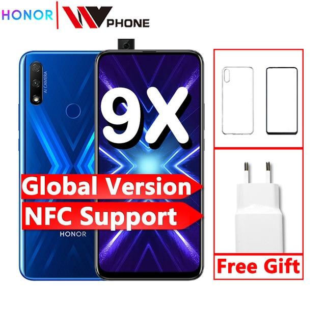 هاتف ذكي Honor 9x الإصدار العالمي كاميرات ثلاثية 48 ميجابكسل nfc 4000mAh 6.59 بوصة شاشة كاملة GPU هاتف محمول تربو
