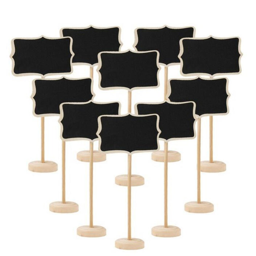 Mini Wooden Chalkboard Heart Blackboard 10Pcs Message Table Number Wedding Party Decor Write Information Funny Easy To Use
