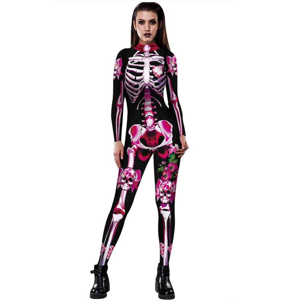 Goocheer 3D Print Rose Skeleton Costume   Jumpsuit   Scary Halloween Costumes For Women Mechanical Skull Plus Size Bodysuit