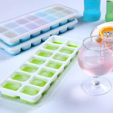 1piece 14 Grid Silicone Ice Cube Tray Molds With Lid Juice Maker DIY Color 4 Mould Cocktail Square Desert B0C3