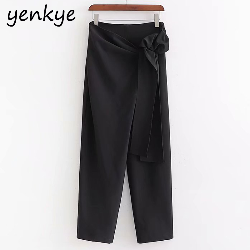 Front  Crossover Self-bow Wrap Black Pants Women Casual Trousers  High Waist Pants Pantalones Mujer  XDWM2401
