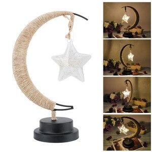 Image 5 - Rękodzieło LED lampka nocna księżyc lampa gwiezdna Retro dekoracyjna lampa stołowa prezenty na urodziny, boże narodzenie dekoracje weselne