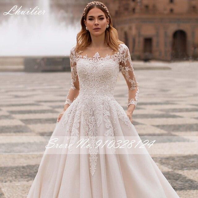 Lhuilier A-line Scoop Neck Beaded Wedding Dresses 2021 Lace Appliques Long Sleeves Court Train Floor Length Bridal Dress 3