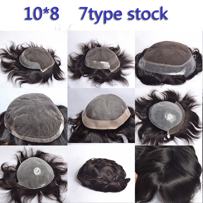 Yeahwigs Swiss Lace & PU Toupee Replacement Men Toupee 10*8