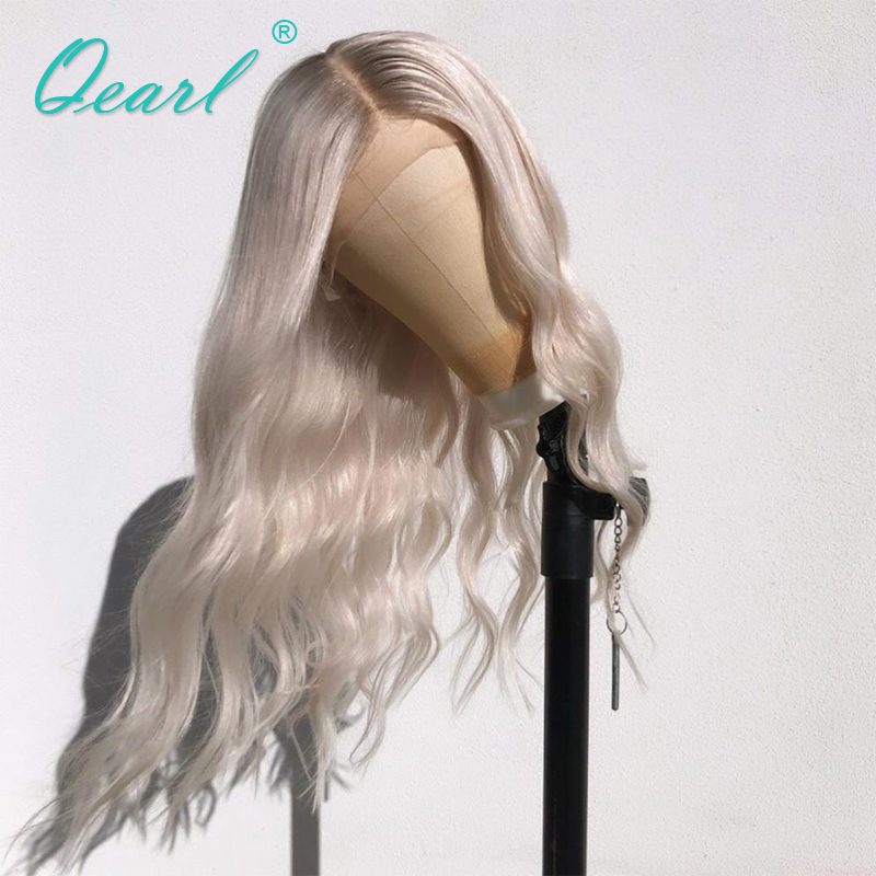 Full Lace Wig Pre Plucked With Baby Hair Body Wave Human Hair Wig White Blonde Ombre Color Brazilian Remy Hair Middle Part Qearl