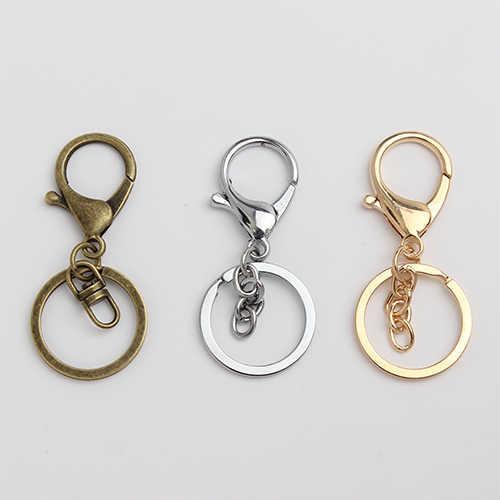 20 ชิ้น/ล็อต Key CHAIN แหวน keychain Bronze โรเดียม 28 มม.ยาวแยก Keyrings พวงกุญแจเครื่องประดับขายส่ง DIY