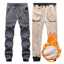 Warm Pants Trousers Jogges Velvet Fleece Thicken Sports Winter Men's 6XL Slim Plus Padded