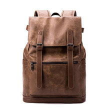 Men Casual Business Backpacks Vintage PU Leather USB Charger Laptop Travel Bagpack High Quality Waterproof School Back Pack B038