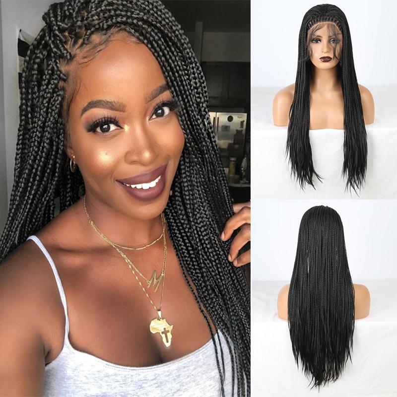 Rongduoyi resistente ao calor do laço sintético frente trançado perucas para as mulheres marrom/preto cor longa tranças peruca cosplay com cabelo do bebê