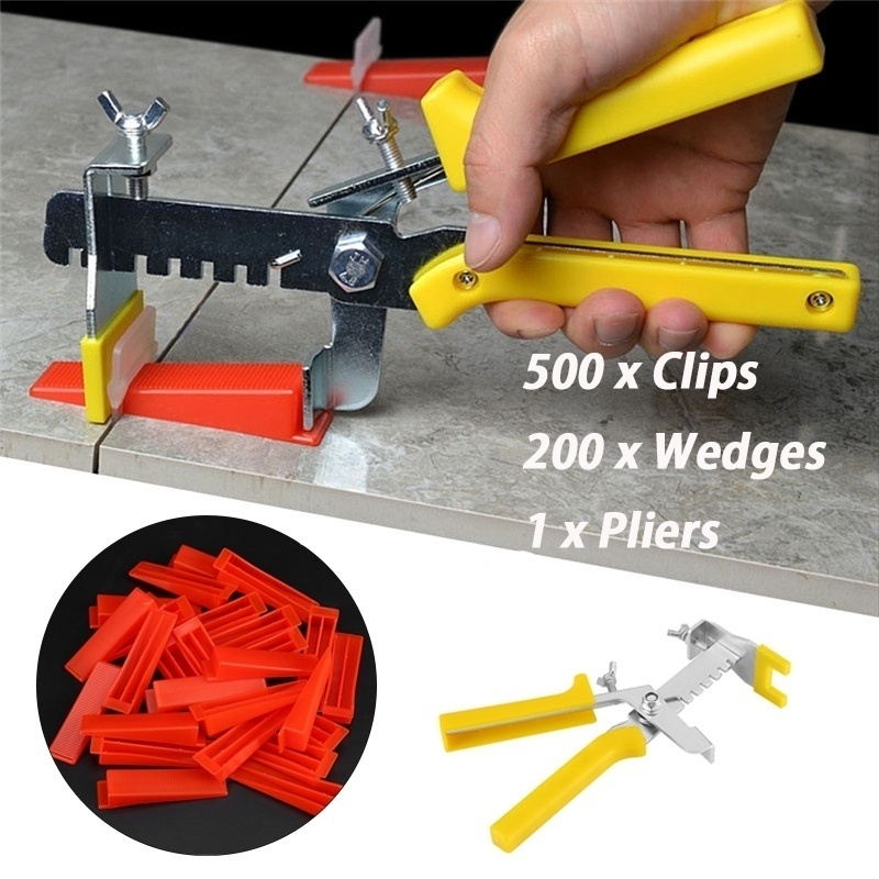 Floor Wall Plastic Tile Leveling System Tools 500 X Clips + 200 X Wedges + 1 X Pliers