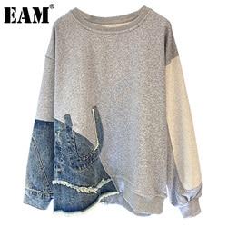 [EAM] Loose Fit Gray Denim Irregular Sweatshirt New Round Neck Long Sleeve Women Big Size Fashion Spring Autumn 2021 1DD2739