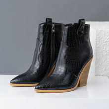 Leather Wedges High Heels  Toe Zipper  Boots PU27