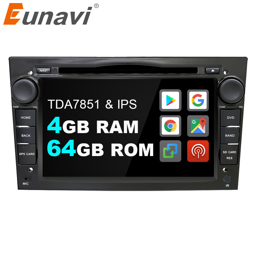 Eunavi 2 Din Android 9.0 samochodowy odtwarzacz DVD Radio dla opla Vauxhall Astra H G J Vectra Antara Zafira Corsa Vivaro multimedialna nawigacja GPS
