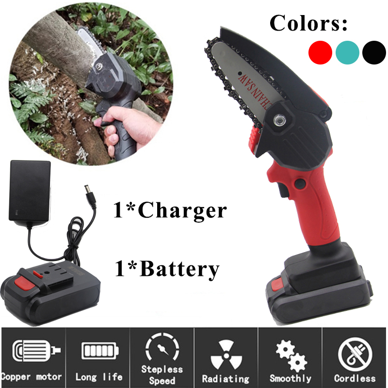 550W Electric Pruning Saw w  24V Lithium Battery 1Charger Portable Rechargeable Mini Chain Saw Woodworking Logging US EU Plug