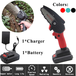 550W Electric Pruning Saw w/ 24V Lithium Battery 1Charger Portable Rechargeable Mini Chain Saw Woodworking Logging US/EU Plug