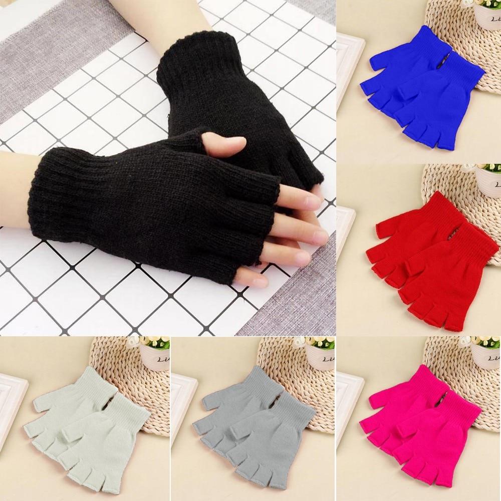 Унисекс перчатки варежки без пальцев вязаные крючком полупальцы взрослые теплые зимние