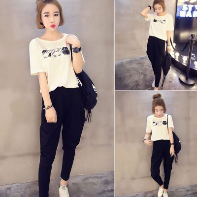 Stall Clothes Korean-Style Cartoon Printed Crew Neck Short-sleeved T-shirt + Skinny Harem Pants Capri Pants Sports WOMEN'S Suit
