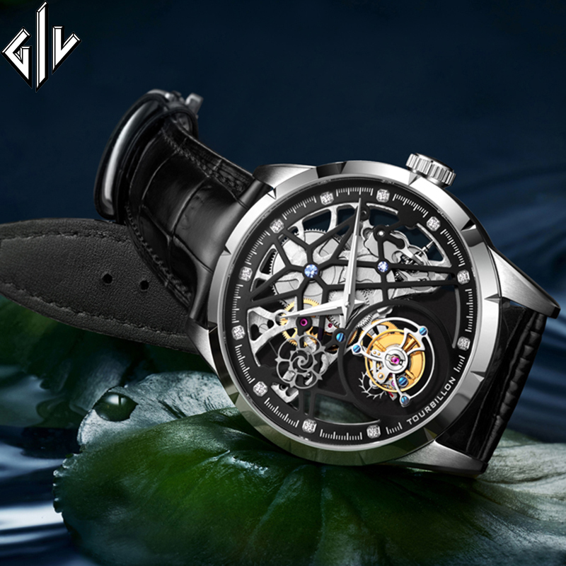 GIV Original Tourbillon Watch Men Waterproof Luxury Mechanical Watch Skeleton Design Sapphire Montre Homme Relogio Masculino
