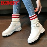 EGONERY cool women's flats shoes winter plush white red stripe pattern boots outdoor sneakers Socks boots drop shipping