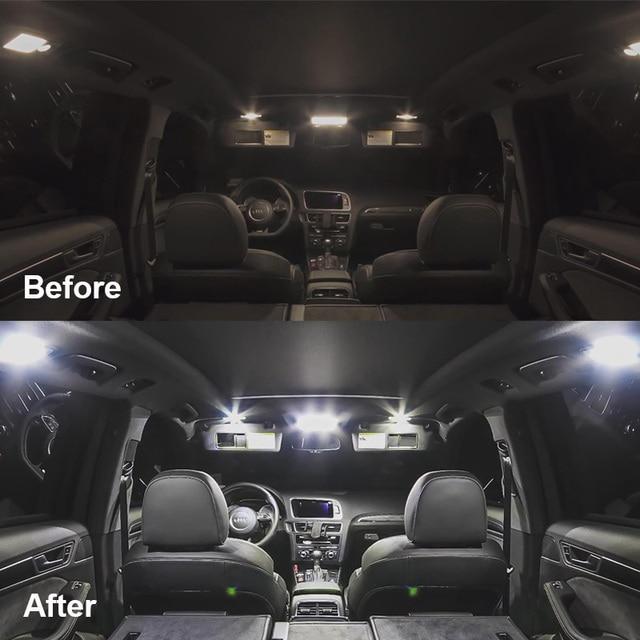 14 Bulbs White LED Car Light Interior Kit Fit For Chevrolet Tahoe 2007-2010 2011 2013 2014 Map Dome Trunk Cargo License Lamp 5