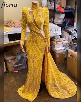 Specjalne złote koronki suknie balowe syrenka długie rękawy suknie wieczorowe Sexy sukienki koktajlowe dla kobiet arabskie suknie formalle szaty tanie i dobre opinie Floria Wysokiej Pełna Pociąg sweep Długość podłogi Prom dresses REGULAR Cekiny PATTERN Illusion Naturalne SW124201