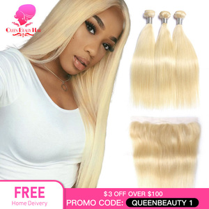 QUEEN BEAUTY 613 Blonde Straight Brazilian Hair Weave Human Hair Bundles with Closure 3PC Remy Hair and 1PC Lace Frontal Closure(China)