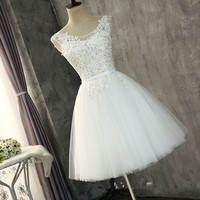 Beaded Lace Appliques Bridesmaids Dresses Short Bandage Back Formal Honor Of Maid Junior Dress
