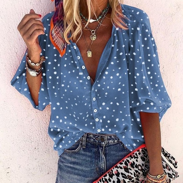 Taniafa Fashion Women Casual Loose Print Long Sleeve Shirts Casual V Neck Polka Dot Tops Blouse Plus Size 5