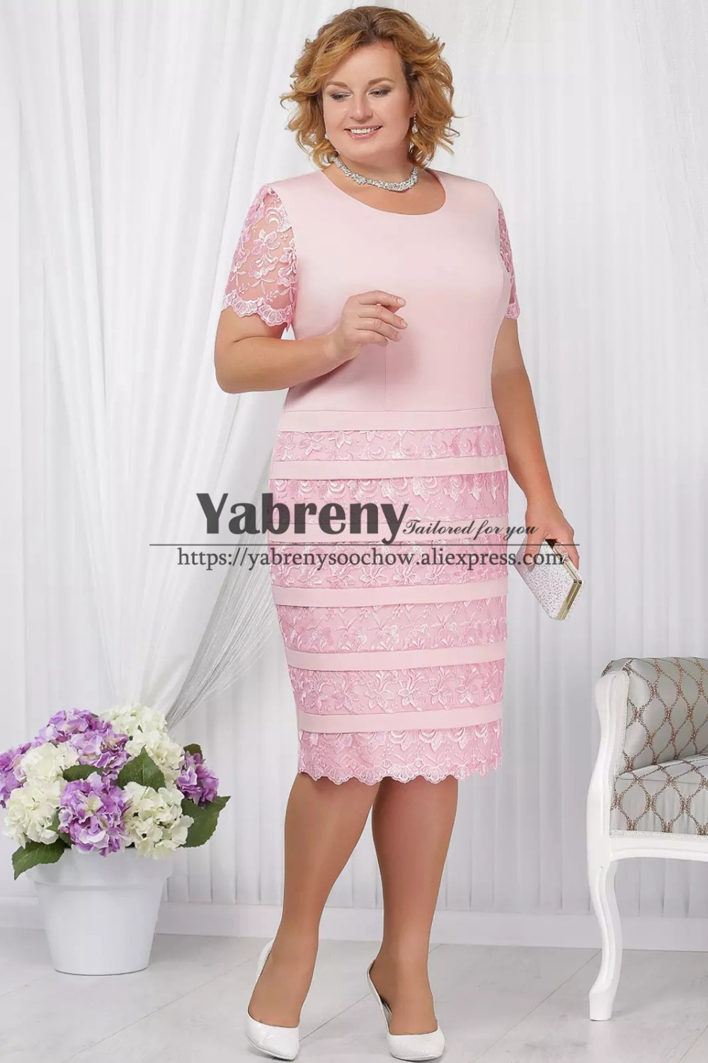 Mid-Calf Plus size Mother of the bride lace dress with jacket Pink outfit