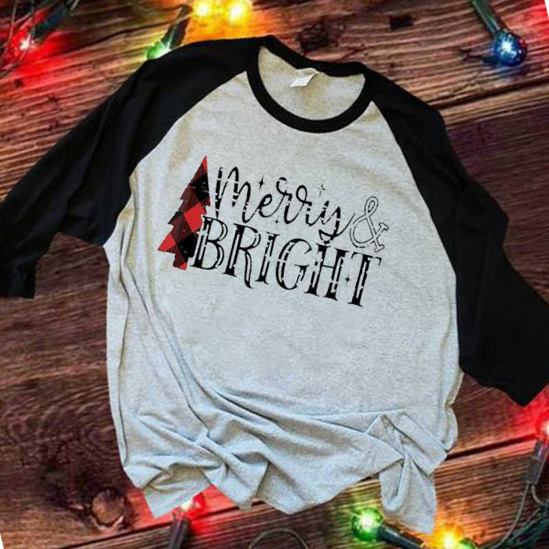 Donne Sveglio di Inverno Harajuku Top A Manica Lunga Camicie grandi taglie Grafico Streetwear Maglietta Delle Donne Vintagetops Buon Natale Magliette