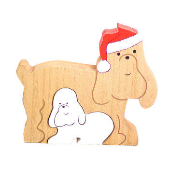 2020 New Newest Arrival Wooden Christmas Dog Set Ornaments Personalised Animal Creative Home Decorations Party Drop Ornaments image